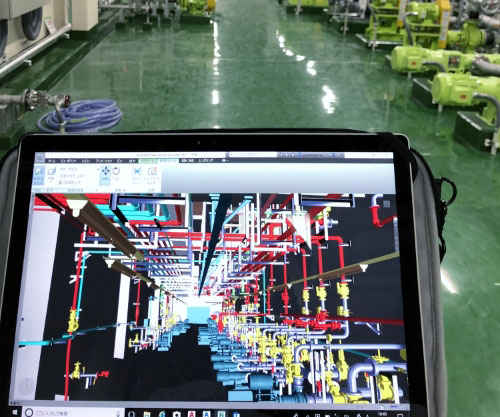 3Dをタブレットで操作することで 現場の施工確認が容易に