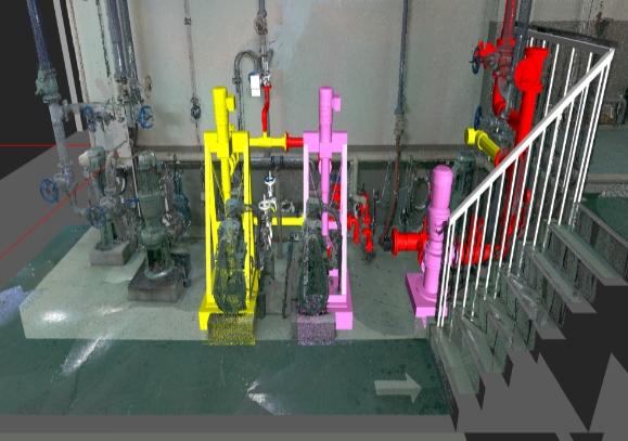 リニューアル工事を3Dスキャナーと 点群処理ソフトにより、干渉の無い3D設計が可能